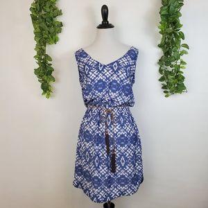 Mango casual blue ikat boho waist tie dress